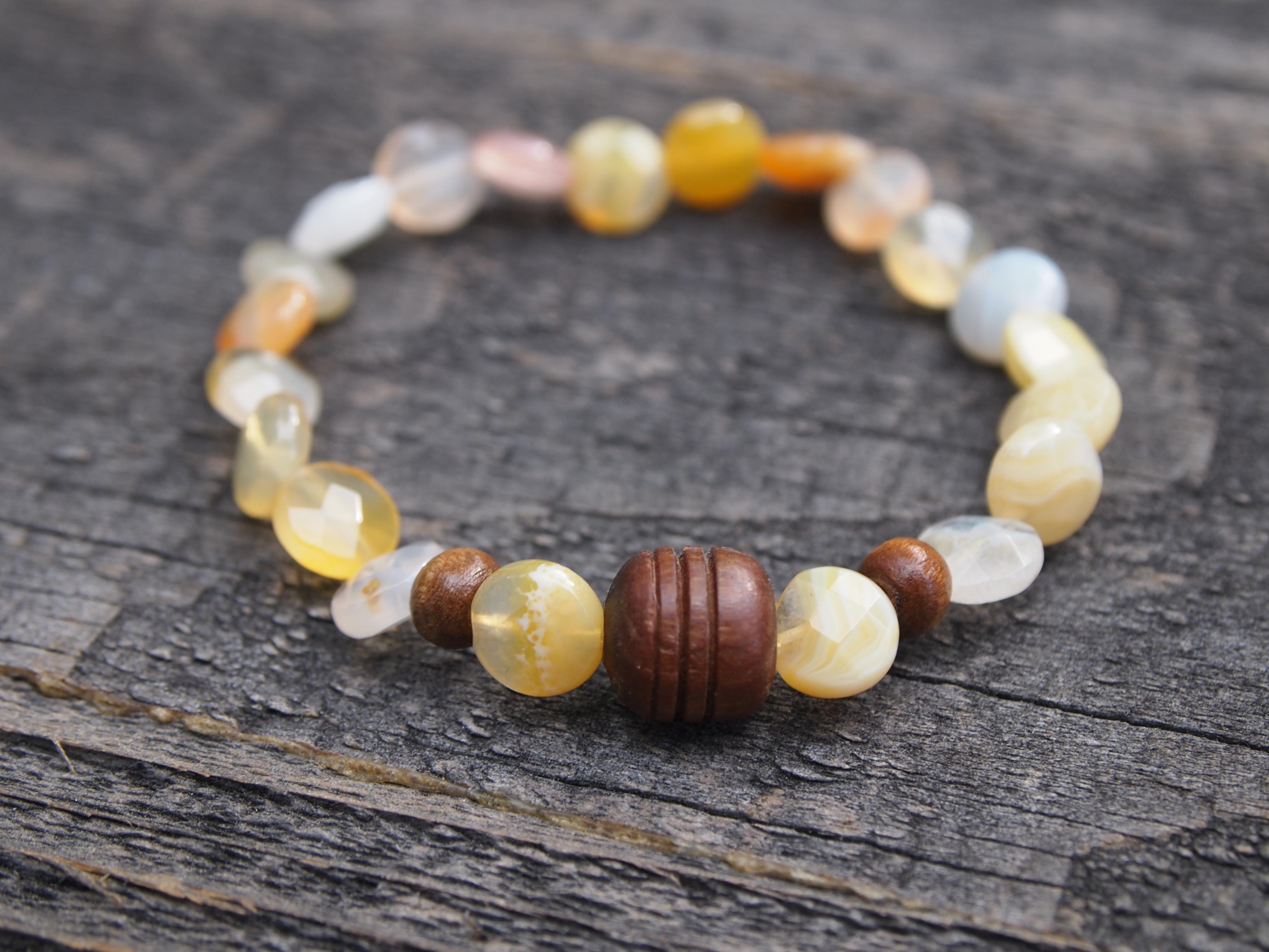 Botswana Agate & Wood Bracelet
