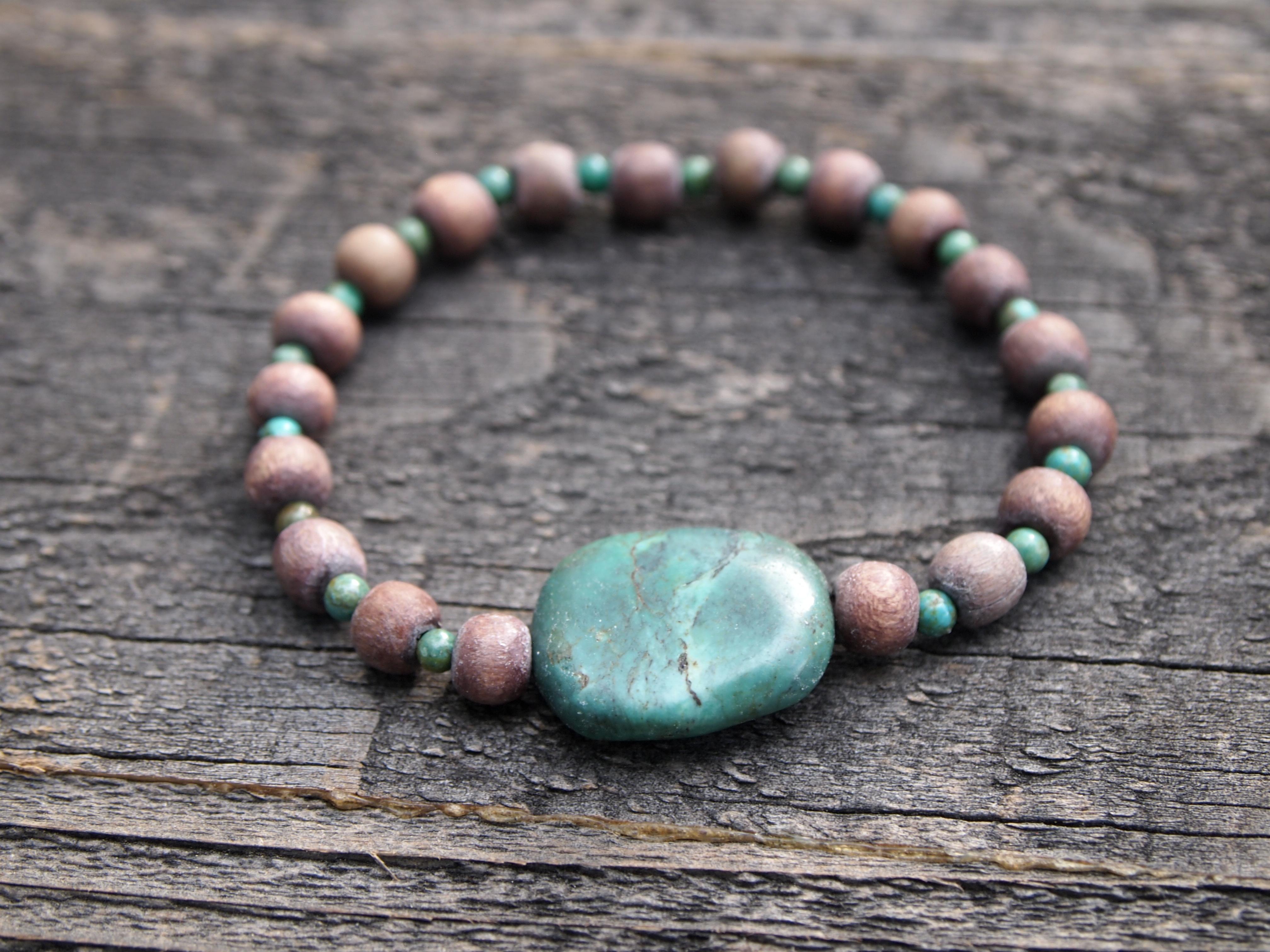 Turquoise & Wood Sacred Bracelet