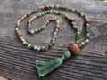 Green Agate & Wood Sacred Mala
