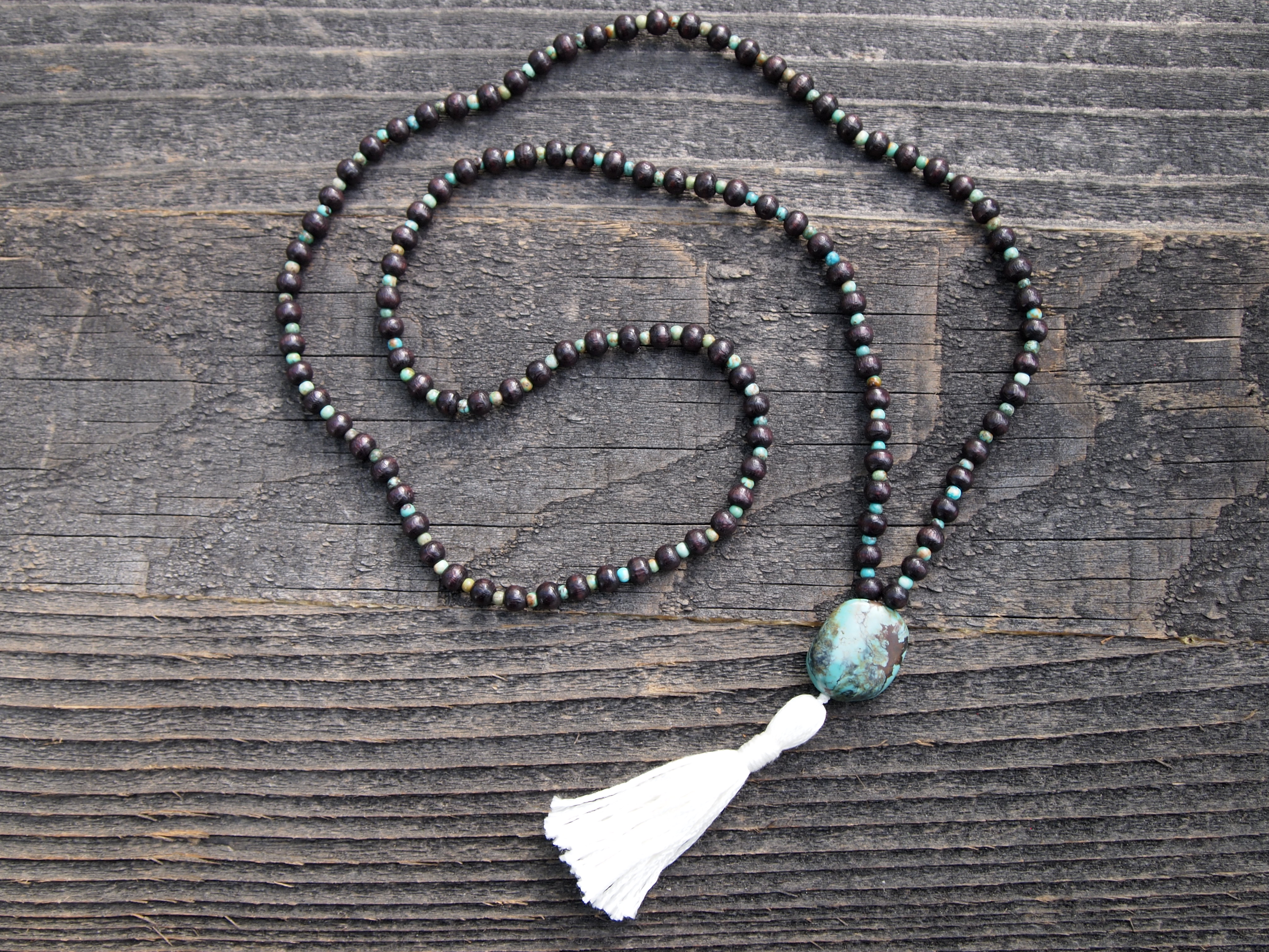 Turquoise & Wood Sacred Mala