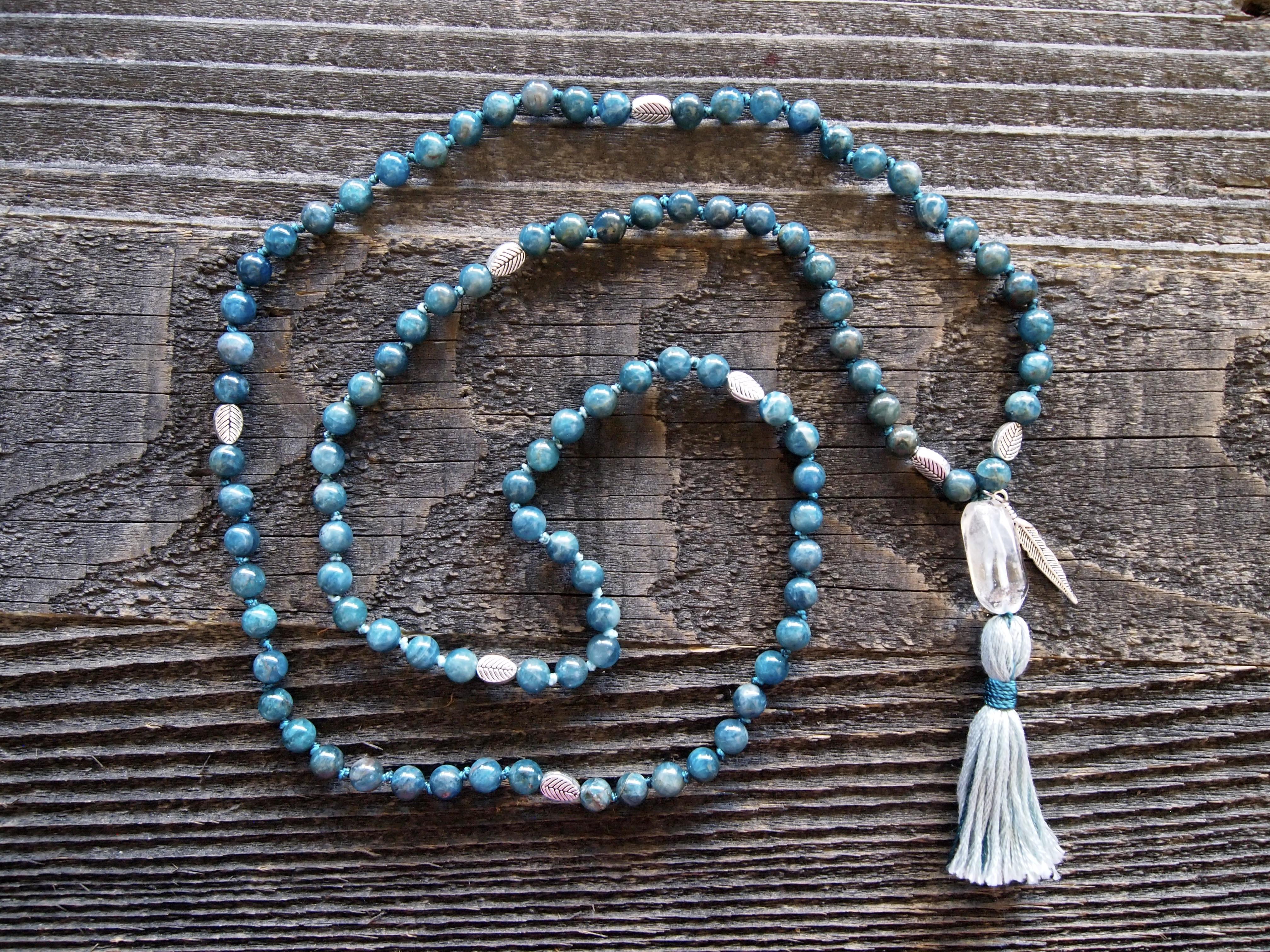 Blue Apatite & Quartz Sacred Mala