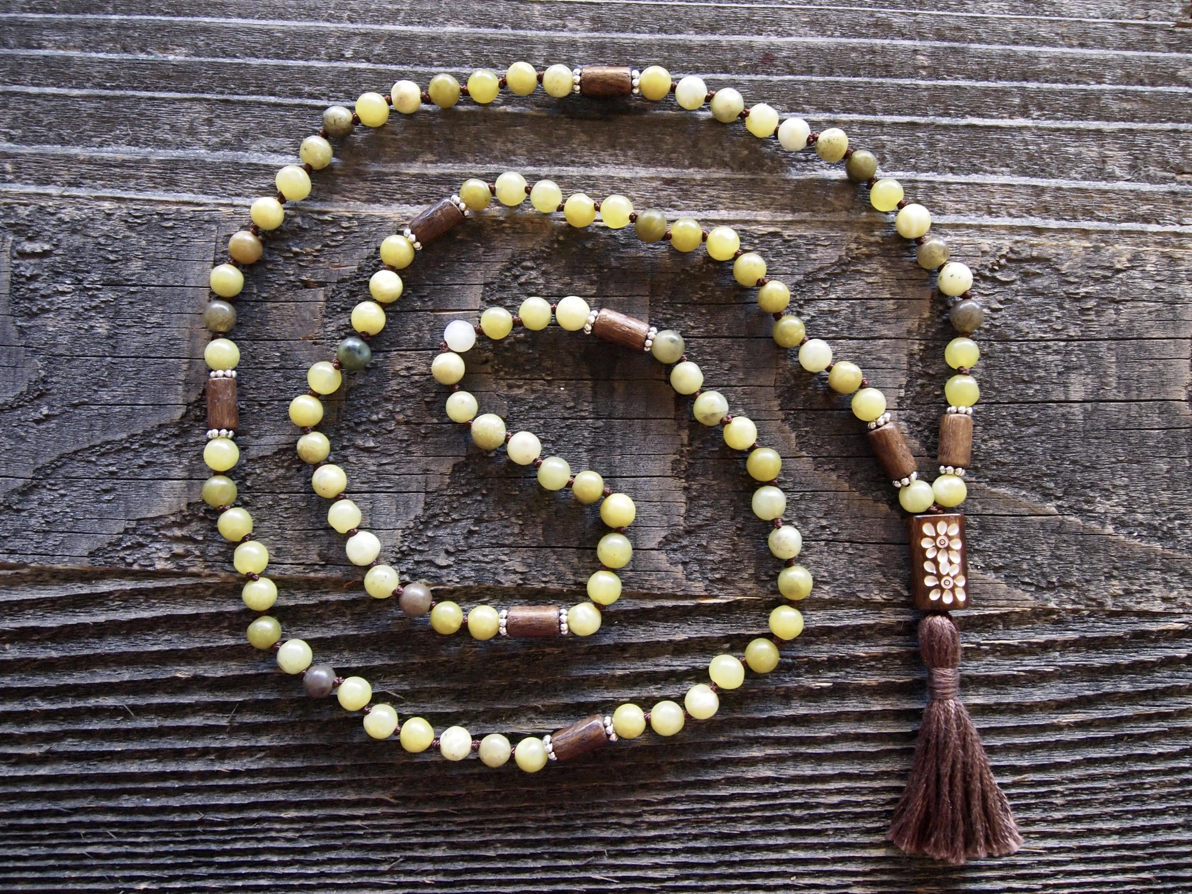 Olive Jade & Wood Sacred Mala
