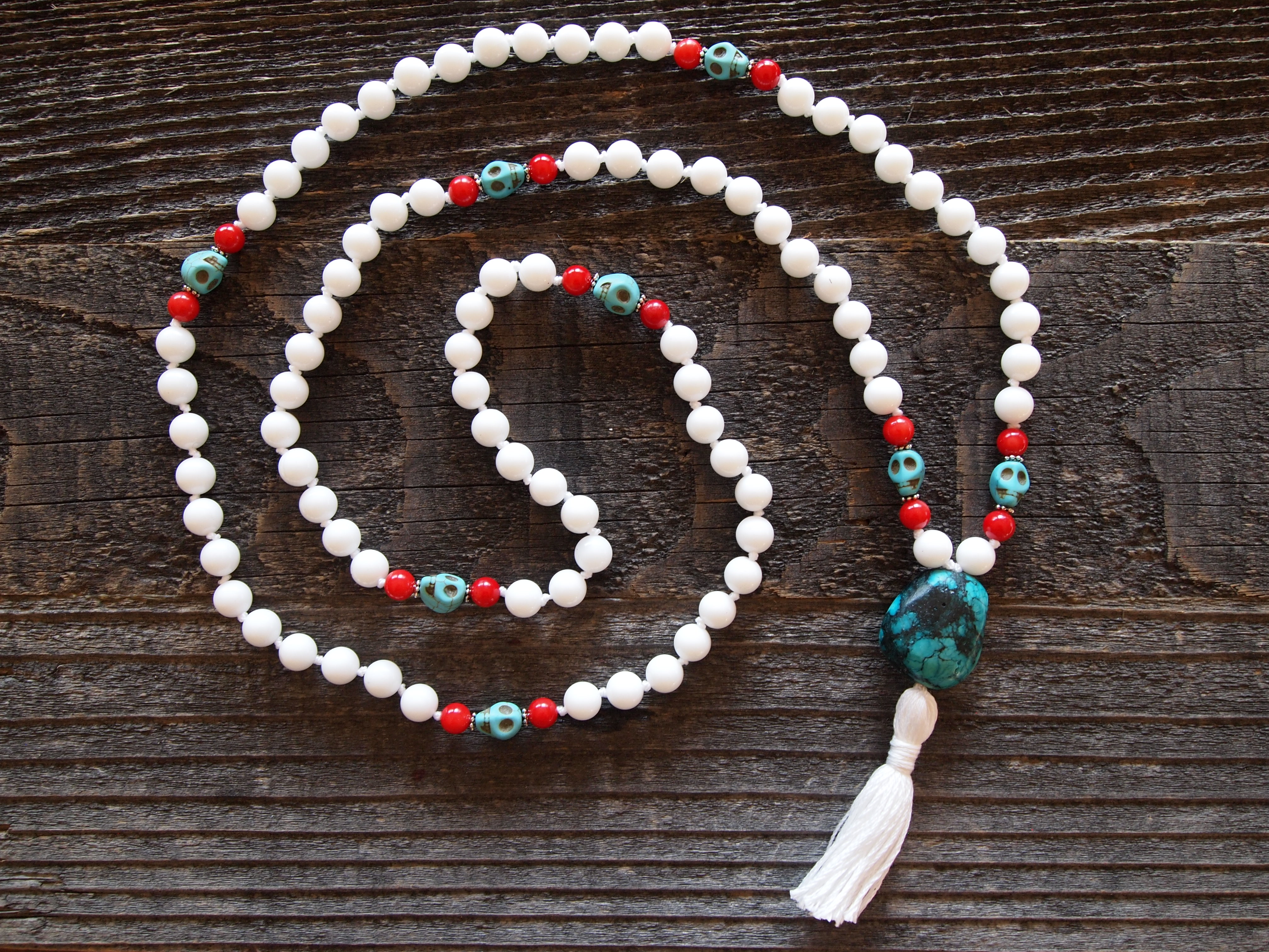 White Onyx, Red Coral & Turquoise Sacred Mala