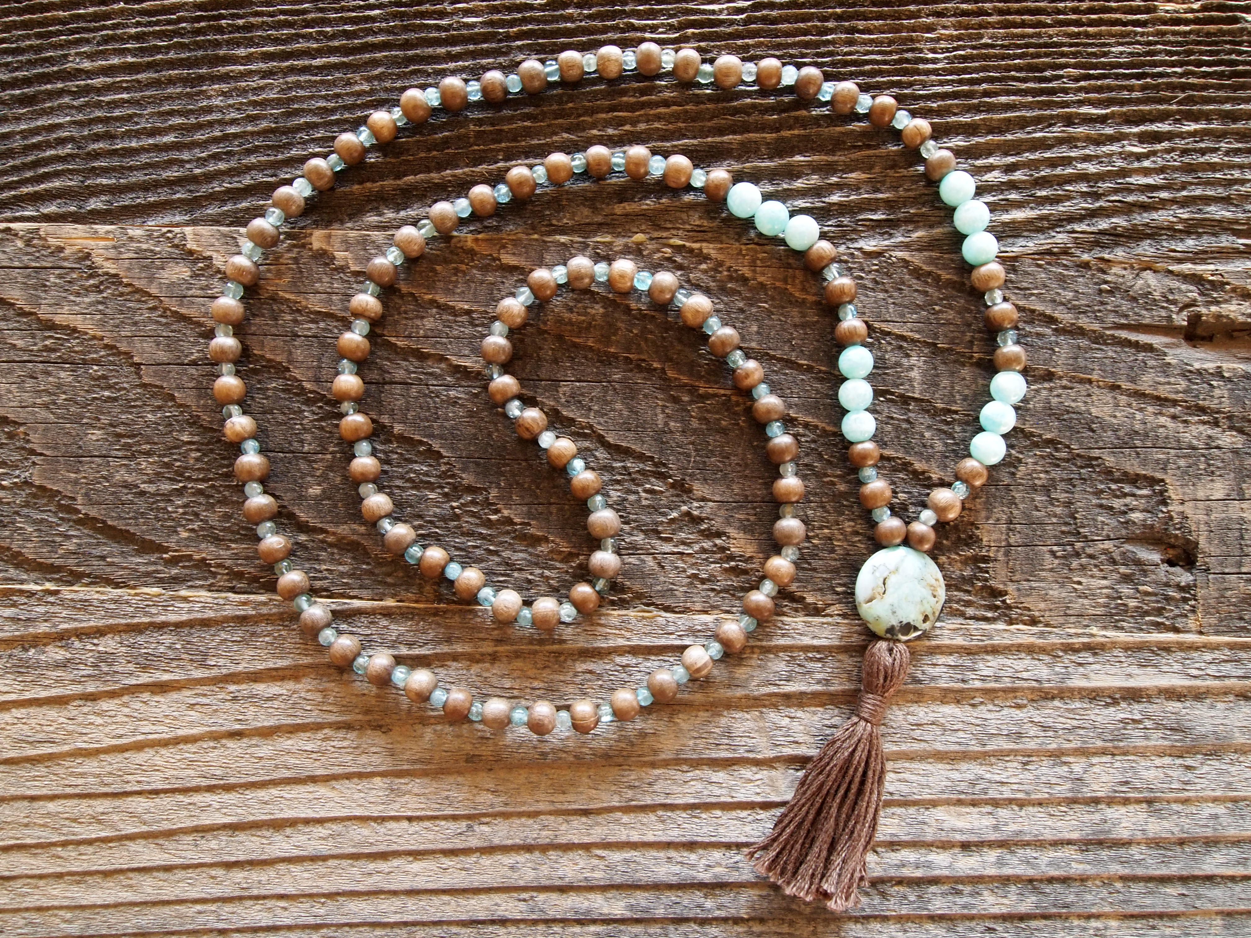 Wood, Amazonite & African Opal Sacred Mala