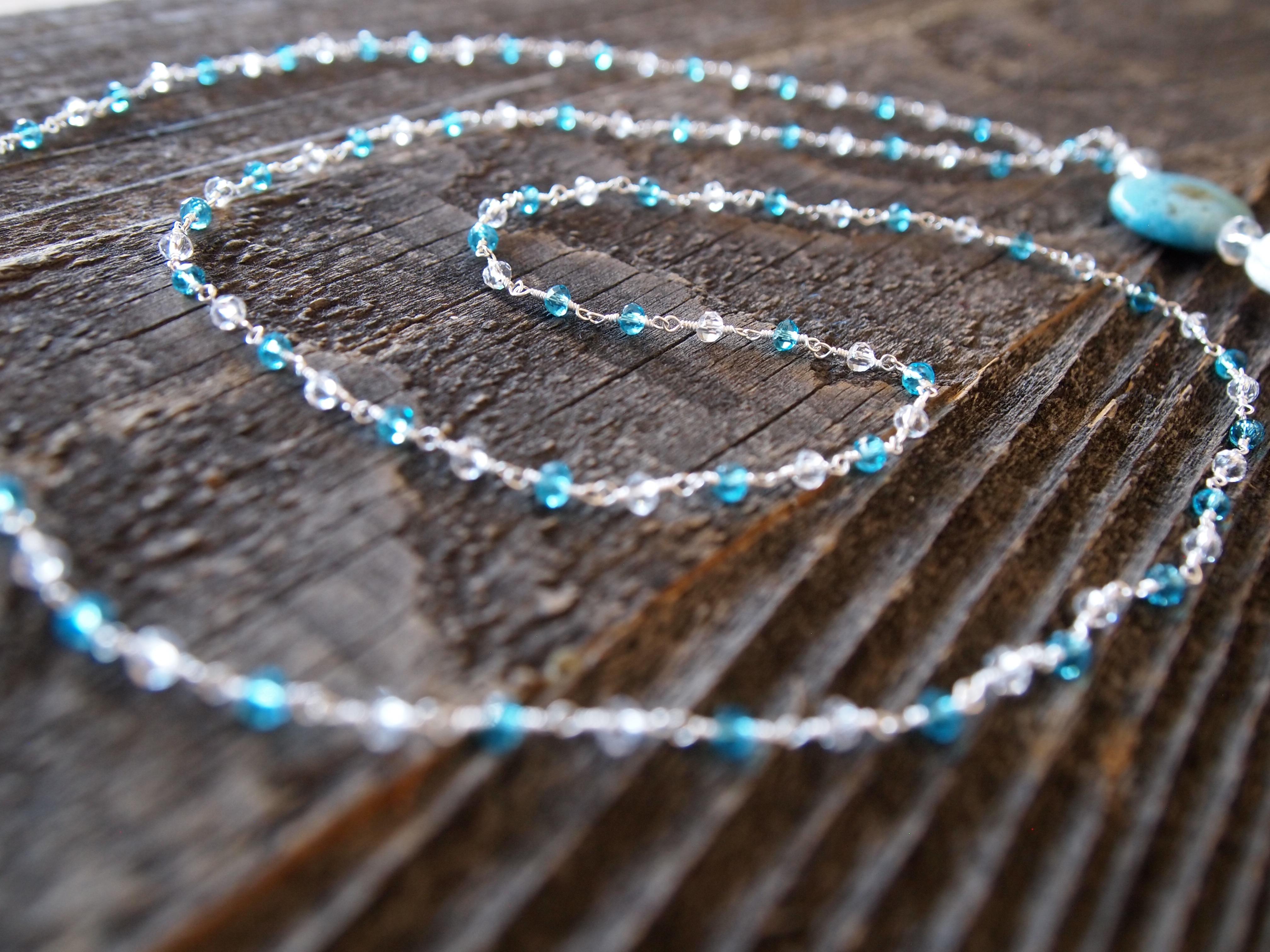 Blue Topaz, Quartz & African Opal Sacred Mala