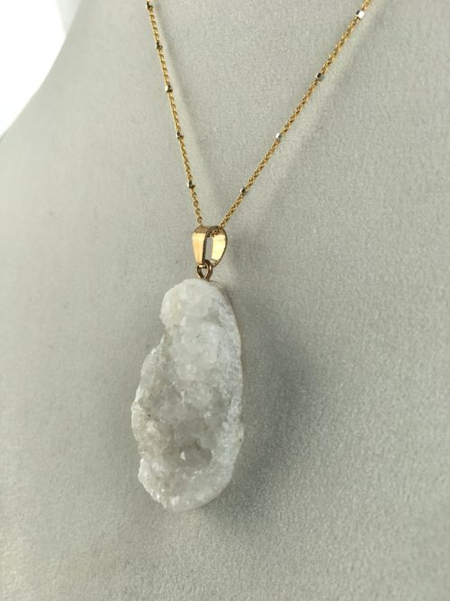 Quartz Druzy Pendant Necklace
