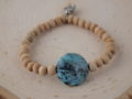 African Opal & Natural Wood Sacred Bracelet with Buddha Pendant