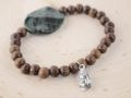 Serpentine & Natural Wood with Buddha charm Bracelet