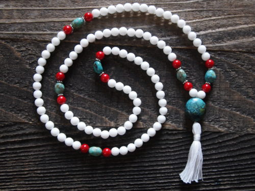 White Onyx, Turquoise & Red Coral Sacred Mala