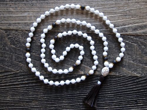 White Onyx & Wood Sacred Mala