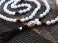 White Onyx & Wood Sacred Mala
