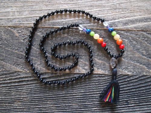 Black Onyx & Multi Stone Chakra Sacred Mala