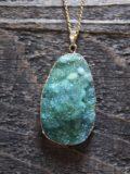 Druzy Blue Quartz Pendant Necklace