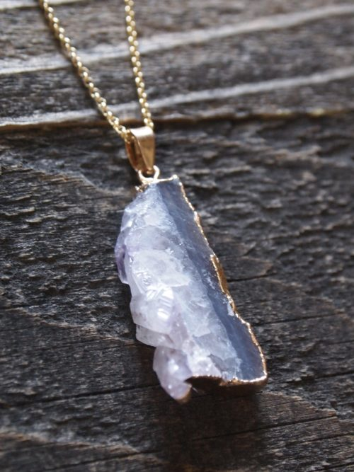 Raw Natural Amethyst Pendant Necklace