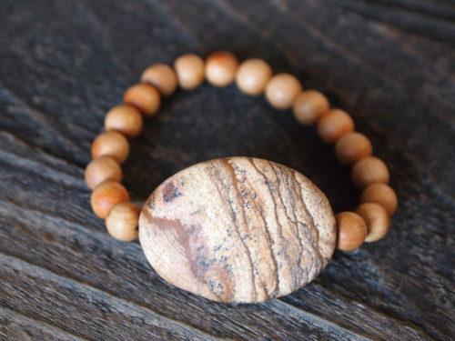 Kalahari Picture Jasper & Natural Wood Sacred Bracelet