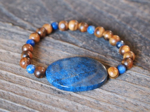 Sodalite & Natural Wood Sacred Bracelet