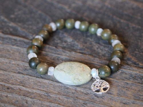 Green Jasper, Moonstone & Natural Wood Sacred Bracelet